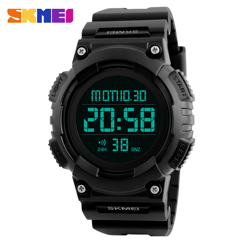 SKMEI Brand Fashion LED Digital Watch Men Countdown Sports Watches Men Double Time Chronograph Military Wristwatch New Hot 2018