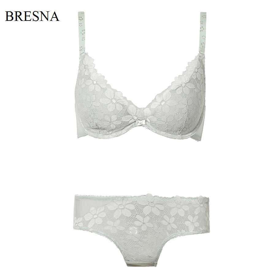 66e745b7162da BRESNA Ultra Thin Bra and Panties Set Floral Lace Soft Cotton Cup Mesh  Patchwork Sexy Lingerie