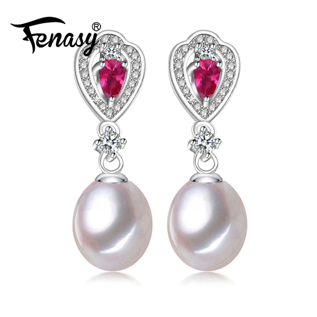 Fenasy Fashion Ruby Earring Pearl Jewelry Earrings For Women Wedding Gift