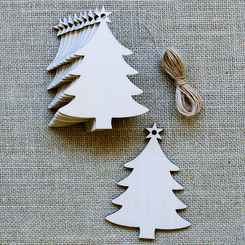 pack of 10pcs wood craft christmas tree laser cut christmas ornaments wooden tree hanging decoration for merry christmas xmas in party diy decorations from