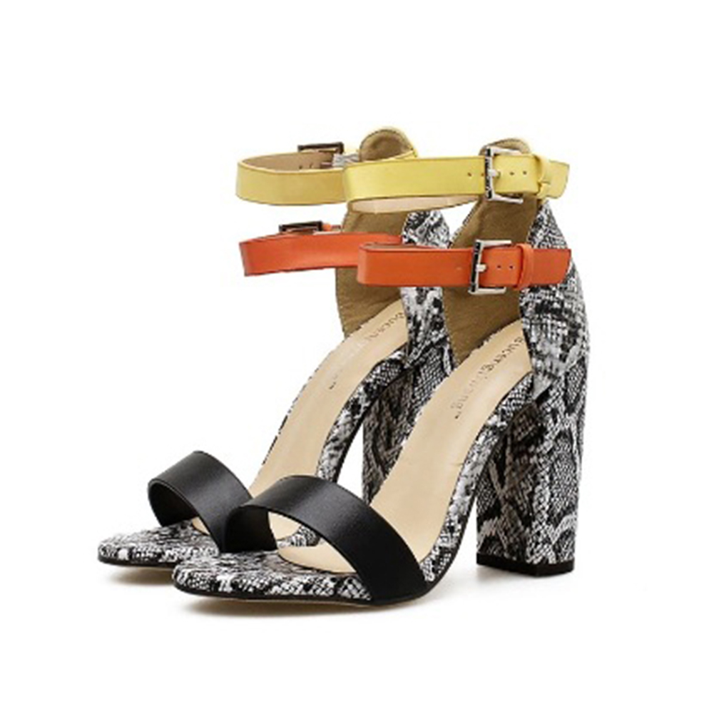 Summer Womens Thick Heel High Double Buckle Sandals Leopard Print Shoes Sexy Leather PU Fashion New