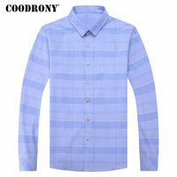 COODRONY Shirt Men 2018 Spring Summer New Camisa Masculina Casual Striped Long Sleeve Cotton Shirts Brand