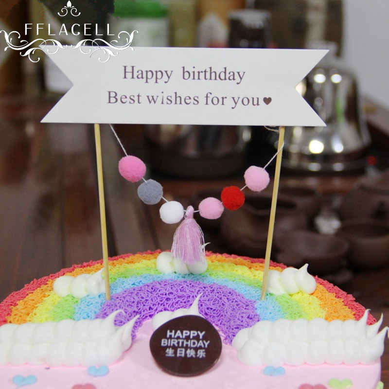 Fflacell 1set Handmade Party Cake Topper Wedding Cupcake Decoration