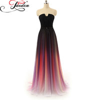 In Stock JAEDEN Evening Dresses Sweetheart Neck Cheap Chiffon Gradient Colorful Trendy Printed A Line Real Photo Party Gown 2017