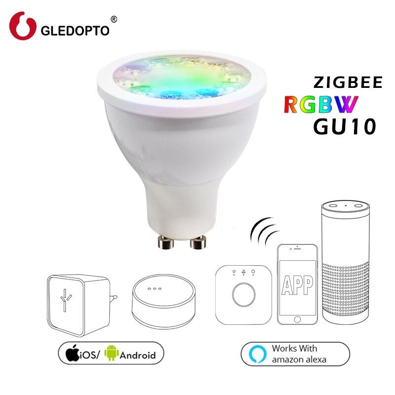 5 w RGBW riflettore LED GU10 AC100-240V ZIGBEE collegamento luce zll ponte RGB intelligente app di lavoro di controllo con Amazon Echo e molti gateway