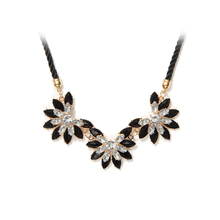Collares 2017 Hot sale Rhinestone Necklace New Brand Style Crystal Collier multi-layer Weave Flower water drop necklace jewelry