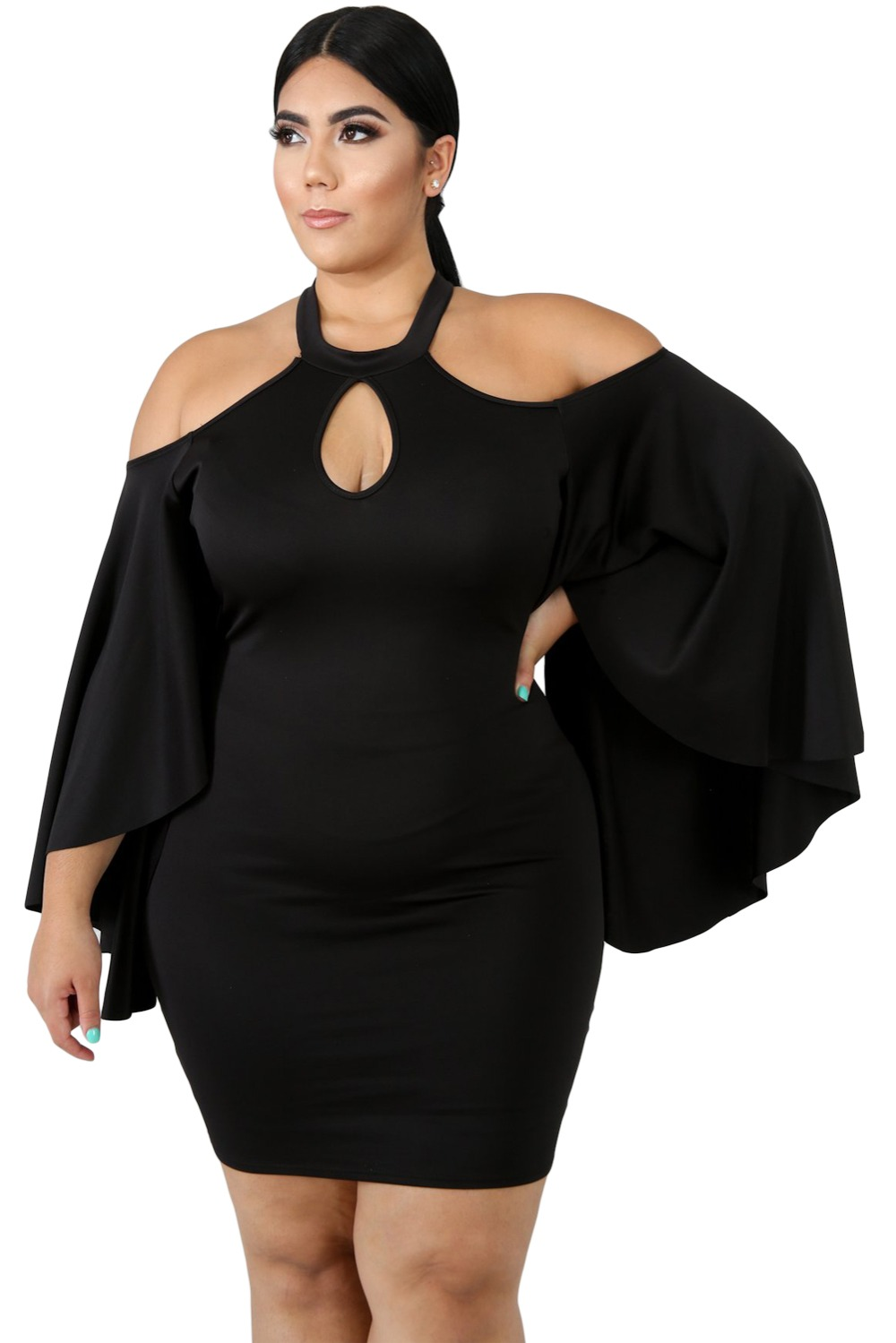 Black-Plus-Size-Cold-Shoulder-Bell-Sleeve-Bodycon-Dress-LC610521-2-1