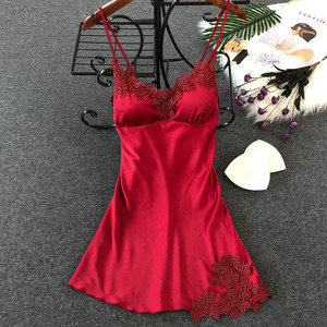 Women's Sexy Lingerie Silk Nightgown Summer Dress Lace Night Dress Sleepwear Babydoll Nightie Satin Homewear Chest Pad Nightwear(China)