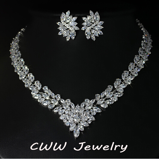 CWWZircons Super Luxury Bridal CZ Jewelry White Gold Color African