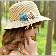 2017 New Girls Summer Flowers Straw Hat Panama Hat Women's Beach Cap(China)