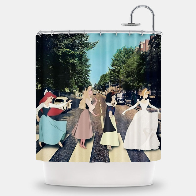 Abbey Road The Beatles Disney Princess Handmade Custom Thick Shower Curtain Bathroom 173