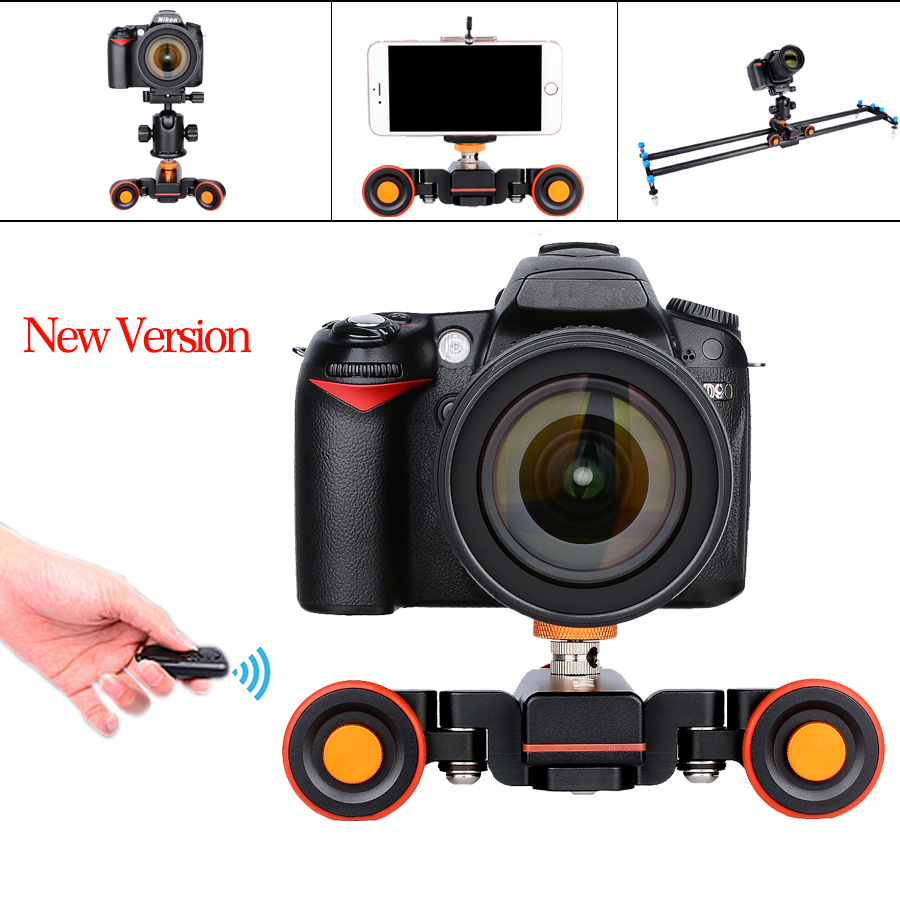 NEW Electric Autodolly Video Car Motorized DSLR Dolly Track Slider Skater With Remote Control for Youtube Vlogging /Phone camera new 4 wheels mobile rolling sliding dolly stabilizer skater slider motorized push cart tractor for gopro 5 4 3 3 2 1 camera