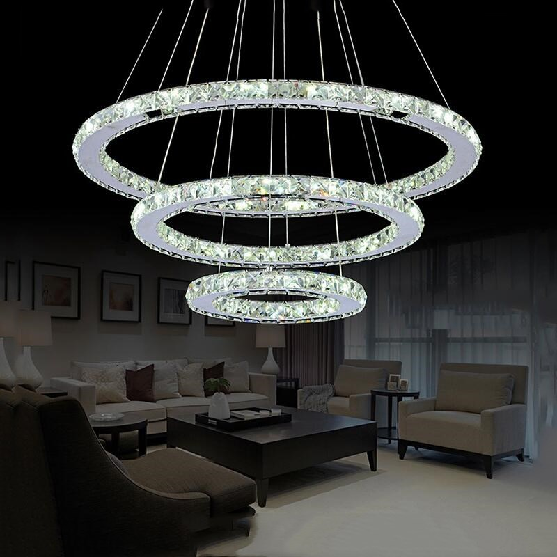 Modern LED Chandelier Diamond Ring Chandeliers Chrome Mirror Finish Stainless Steel Room Hanging Lamp LED Chandelier