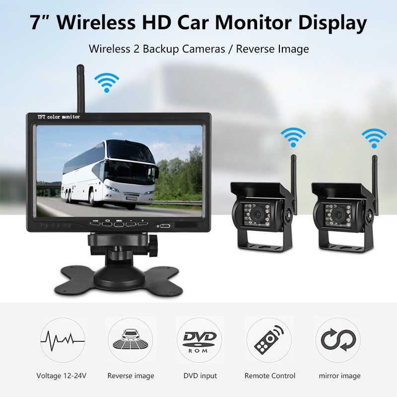 """Jantone 7 """"TFT LCD Monitor de visión trasera de coche inalámbrico HD pantalla CÁMARA DE ASISTENCIA inversa cámara de aparcamiento con 2 traseras las cámaras"""