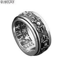 Кольцо ручной работы из серебра 925 пробы в стиле тибетского дорье, Винтажное кольцо из тайского серебра, кольцо со знаком, кольцо спиннинг на удачу