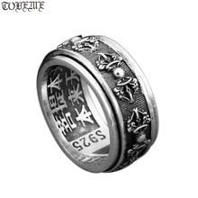 Handmade 925 Silver Tibetan Dorje Ring Vintage Thai Silver Buddhist Vajra Symbol Ring Sterling Spinning Ring GOOD LUCK