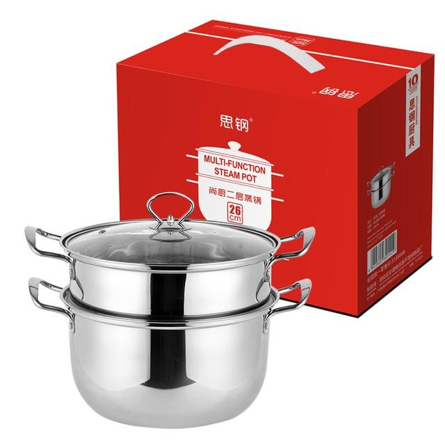 Stainless steel Korean two-layer steamer home dining utensils