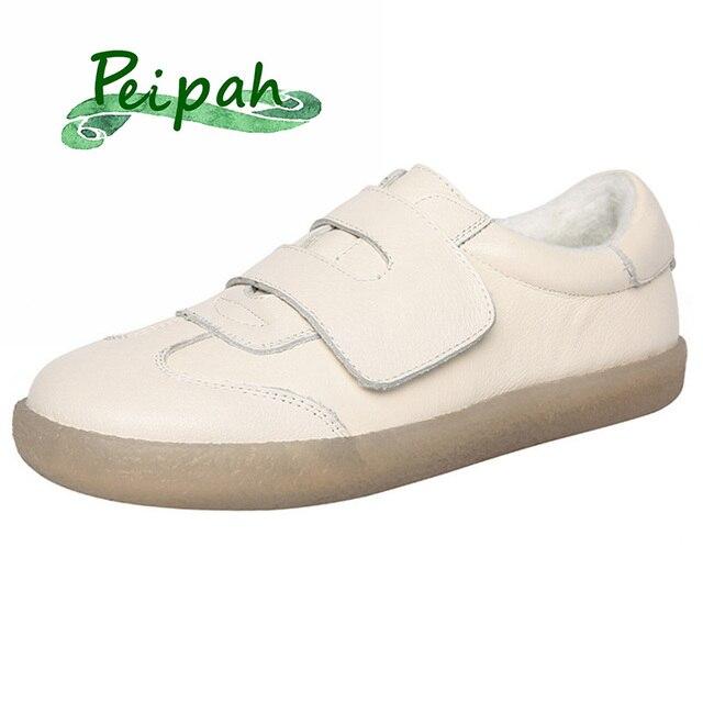 PEIPAH الربيع جلد البقر أحذية نسائية غير رسمية Zapatos Mujer النساء أحذية رياضية Zapatillas Deportivas Mujer إمرأة أحذية مشي