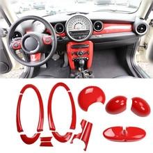 Красное украшение салона автомобиля зеркало заднего вида ручка дверная панель Крышка приборной панели центральная консоль литье для Mini Cooper R55 R56