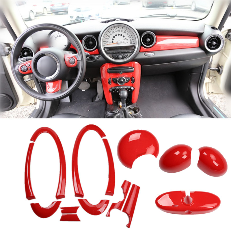 Red Car Interior Decoration Rearview Mirror Handle Door Panel Cover Dashboard Center Console Moulding For Mini Cooper R55 R56