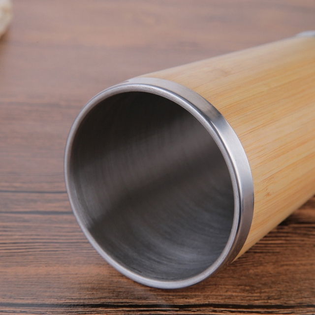 Bamboo Coffee Cup Stainless Steel Coffee Travel Mug With Leak-Proof Cover Insulated Coffee Accompanying Cup Reusable Cup 3