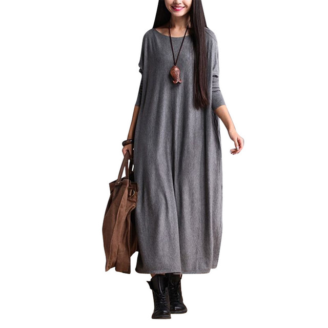 7e26e185c0 YESNO AC6 Women Long Maxi Dress Flowy Casual Loose Fit Crew Neck Long  Sleeve 100% Cotton