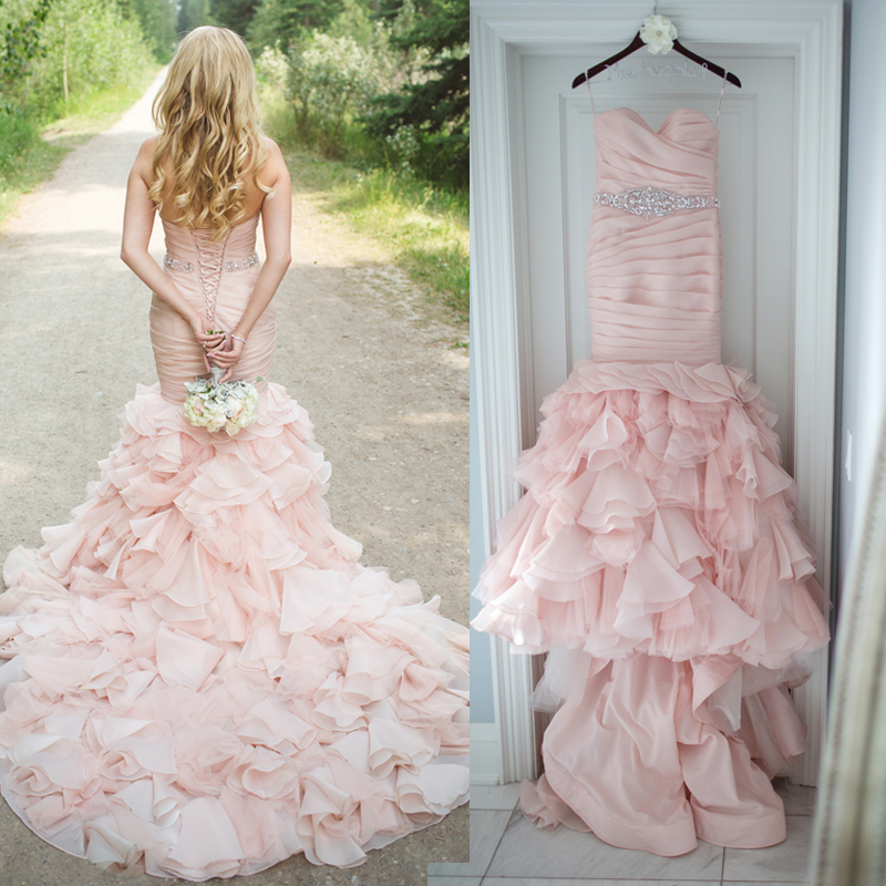 gorgeous blush pink wedding dress 2017 sweetheart organza tiered sweep train bridal gown beaded belt mermaid