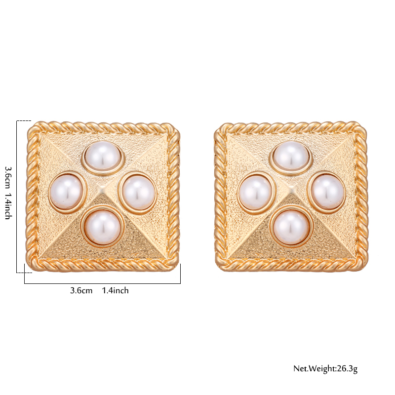 Stainless Steel Polished Simulated Pearl Square Post Earrings
