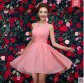 Robe demoiselle d'honneur2017 novo Chiffon 6 modelos de Linha de Um joelho comprimento rosa adolescente vestido de festa de casamento da dama de honra vestido curto