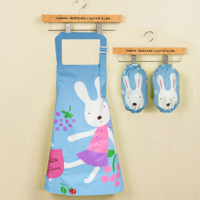 Children's Sleeved+Apron cartoon waterproof baby boy girl drawing apron coverslut adjustable wholesale FG276