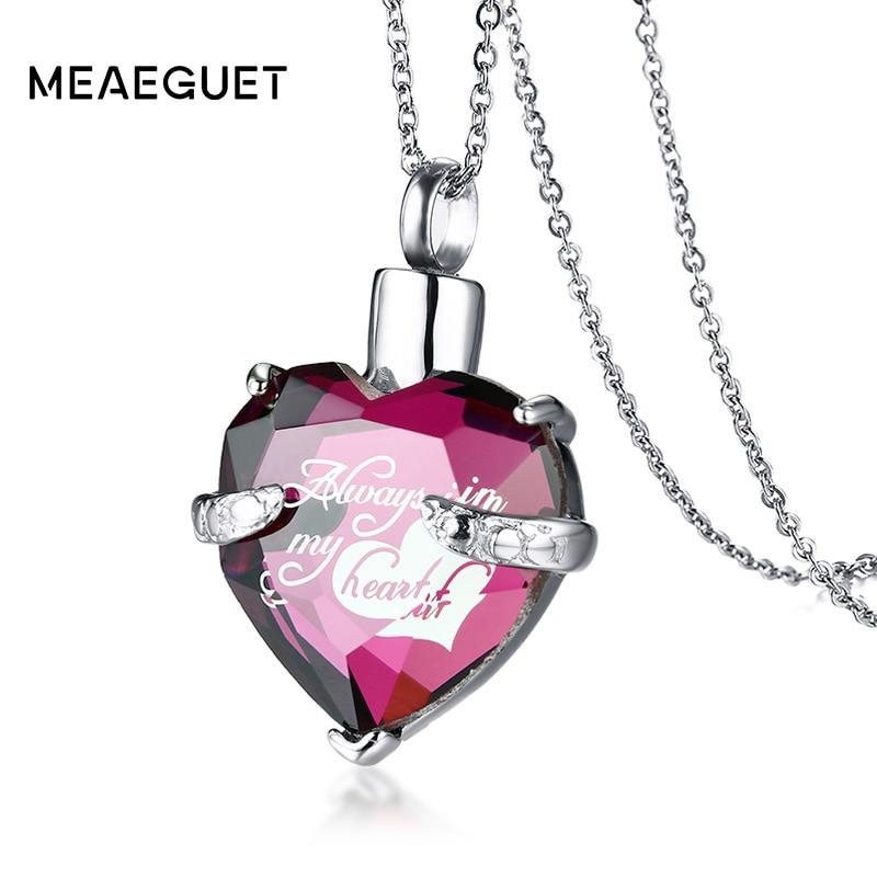 Meaeguet Glass Heart Urn Cremation Ashes Pendant Necklaces For Women Memorial Ke