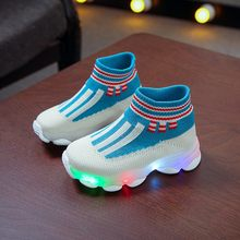 Children Baby Girls Boys Striped Mesh Led Luminous Socks Sport Run Sneakers Casual Shoes toddler kids sneakers sapato infantil(China)
