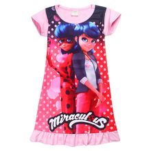 2017 new summer miraculous Ladybug clothing children dress Moana princess girl print vaiana dress Costumes Summer Girl Dress