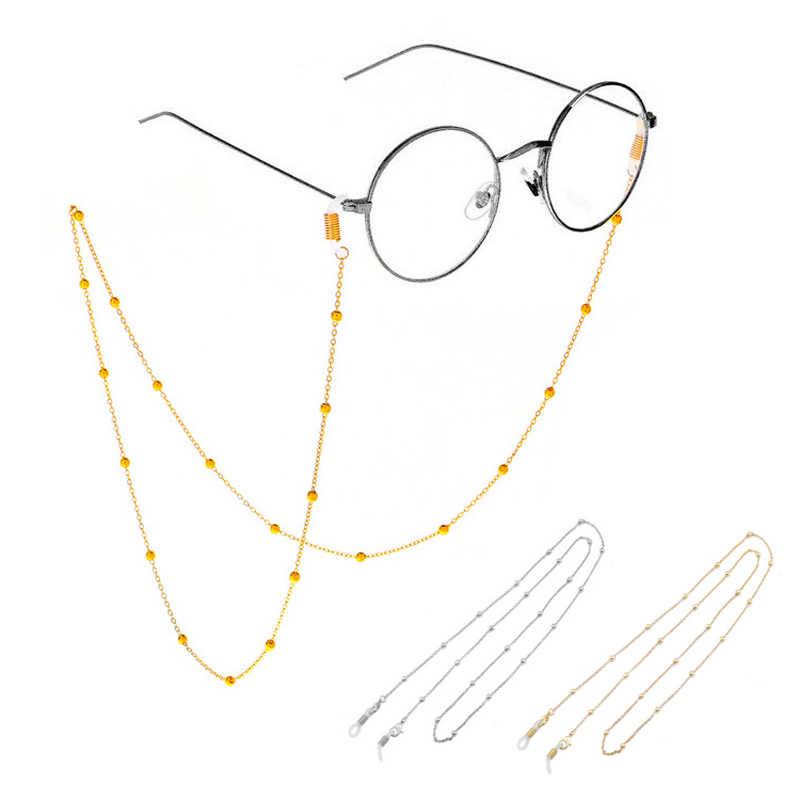 แฟชั่นผู้หญิงโซ่แว่นตาแว่นตาทองเงินแว่นตากันแดดลูกปัดแว่นตาแว่นสายตาที่ใส่สายไฟสายคล้องคอรอบ