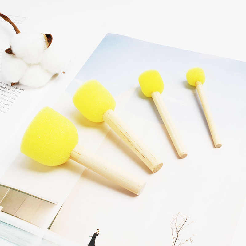 4Pcs/set Kid DIY Sponge Paint Brush Original Wooden Handle Painting Graffiti Early Education Toy Art Supplies