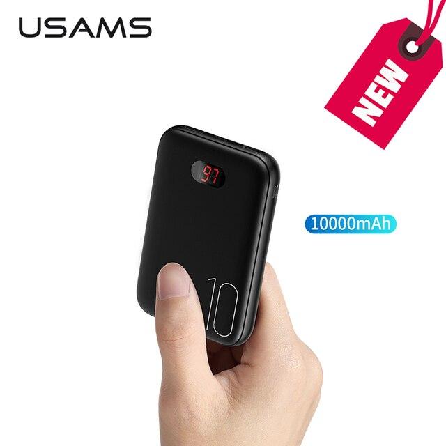 10000 мАч светодио дный светодиодный цифровой мини power Bank USAMS Dual USB power bank Быстрая зарядка 5 В в/2A 10000 мАч портативное Внешнее зарядное устройство