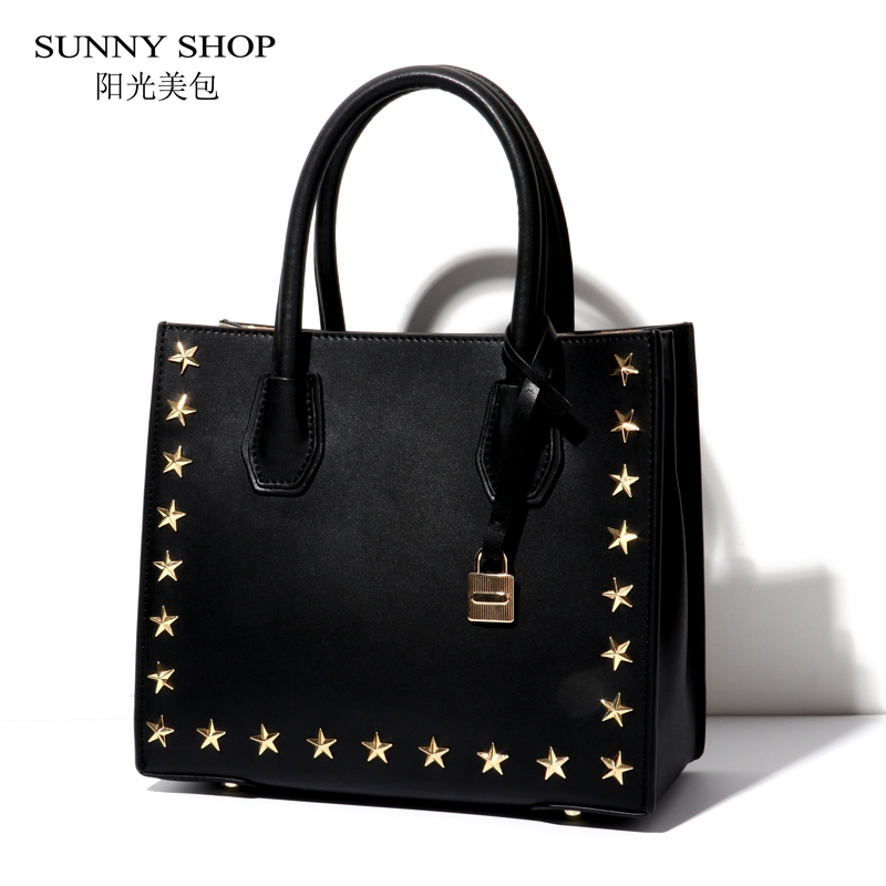 SUNNY SHOP Luxury Genuine Leather Bag Women American Rivets Fashion Cowhide Tote Bag Fashion Sling Shoulder Bag Brand Designer fashion women s tote bag with rivets and checked design