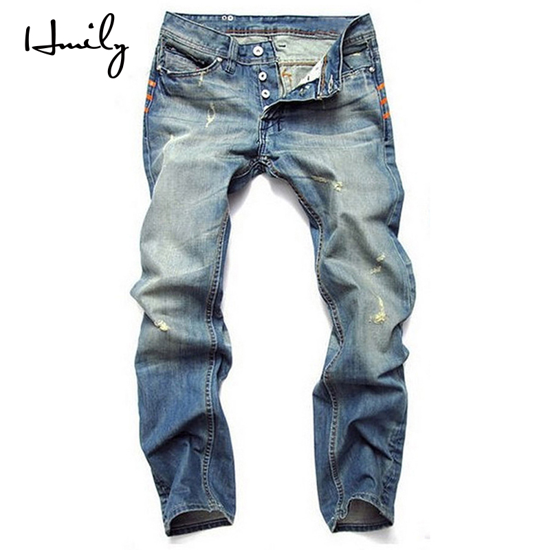 HMILY Straight Jeans Men Ripped Biker Jean Distressed Denim Clothes Man Patchwork Stretch Blue Pants Streetwear Hot Sales