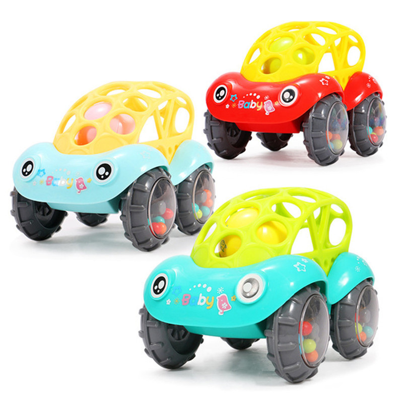 Baby Plastic Non-toxic Colorful Animals Hand Jingle Shaking Bell Car Rattles Toys Music Handbell For Newborns Kids Color Random