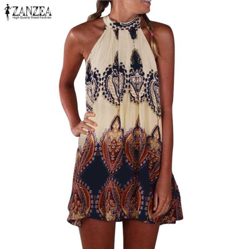 ZANZEA 2019 Vrouwen Vintage Casual Losse Mouwloze Bloemen Bedrukte Jurk Sexy Dames Boho Beach Mini Jurken Vestidos Plus Size