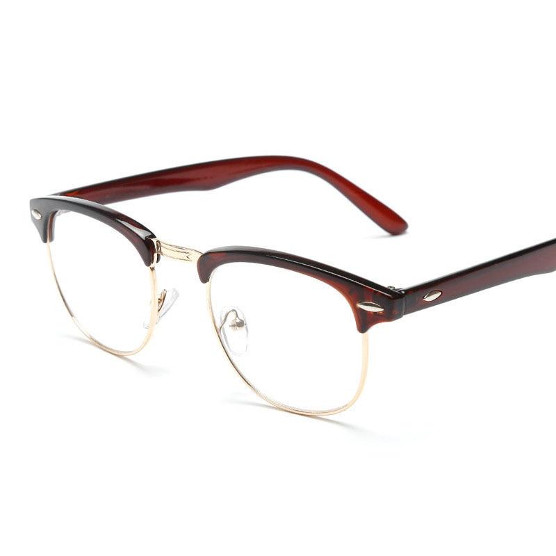 ee5f4332ca5 Classic Vintage Eyeglasses Male Clear Lens Glasses Men Half Metal Frame  Rimless Spectacles Square Computer Eyewear Oculos UV400