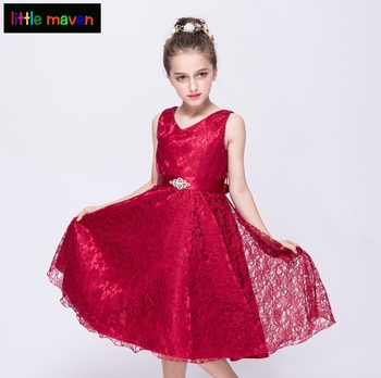 2-12 Yrs Lace Formal Dress in European and American Style Bridesmaids Wedding Party Girl Dress Baby Kids Clothes in 9 Colors
