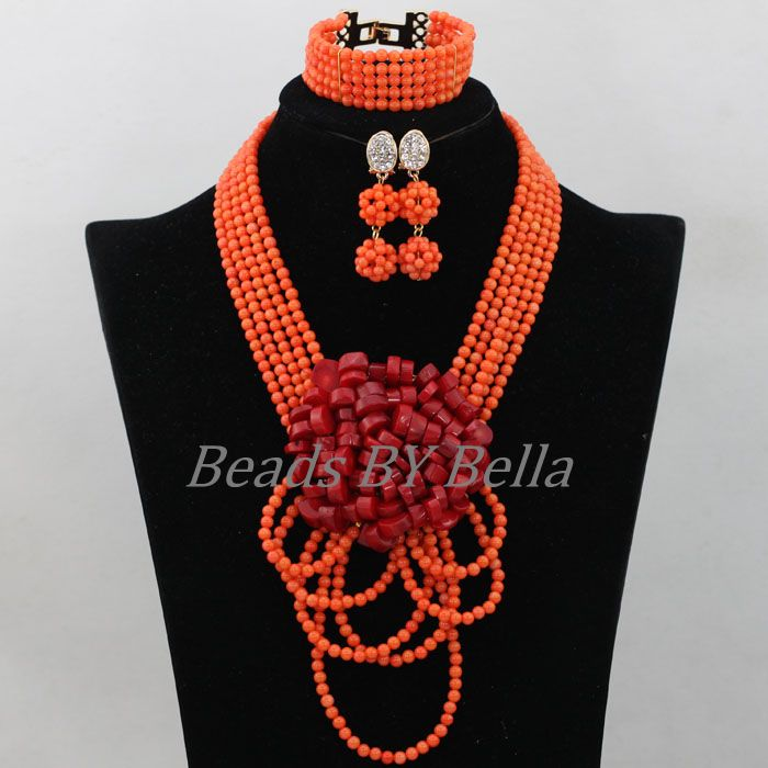 Handmade Coral Nigerian Wedding Beads Necklace Indian Bridal Jewelry Sets African Coral Beads Jewelry Set Free Shipping ABK005Handmade Coral Nigerian Wedding Beads Necklace Indian Bridal Jewelry Sets African Coral Beads Jewelry Set Free Shipping ABK005