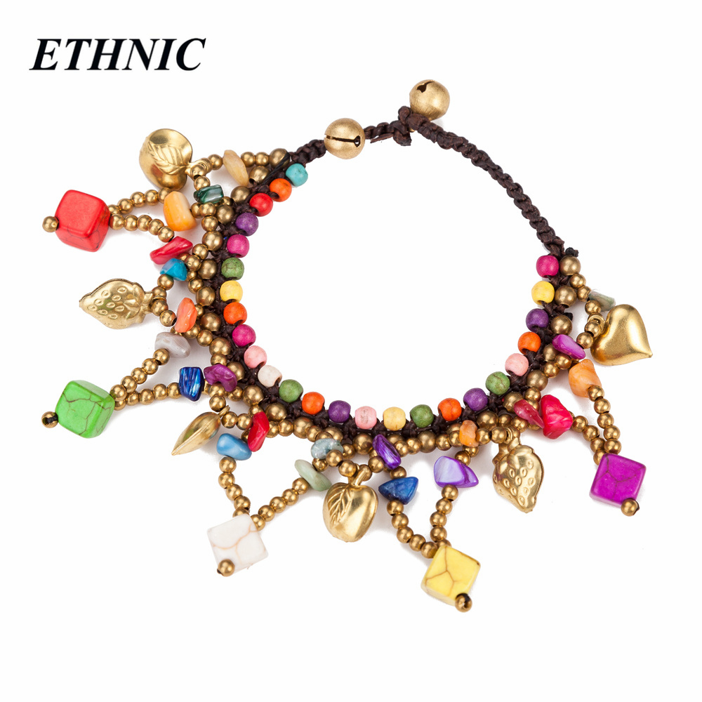Handmade Ethnic Style Two Row Beads Braided Stone Square Shaped Charm Bracelets for Women Gold Color Beaded Rope Chain