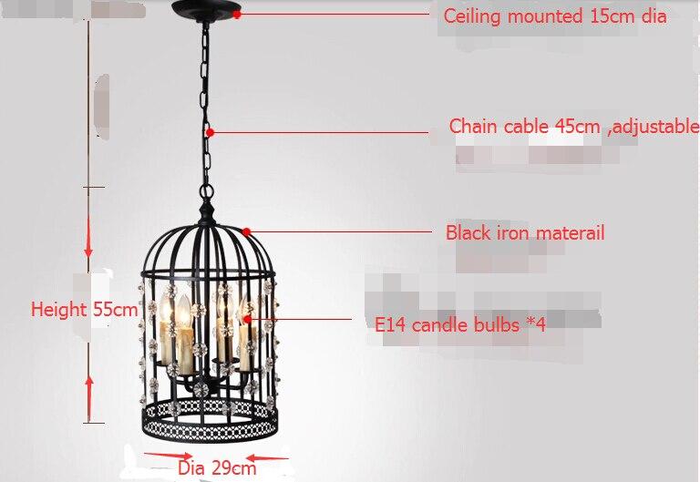 Northern  American industrial restoring birdcage lamp/ iron birdcage retro pendant light/ dining-room  creative dia29cm lamp