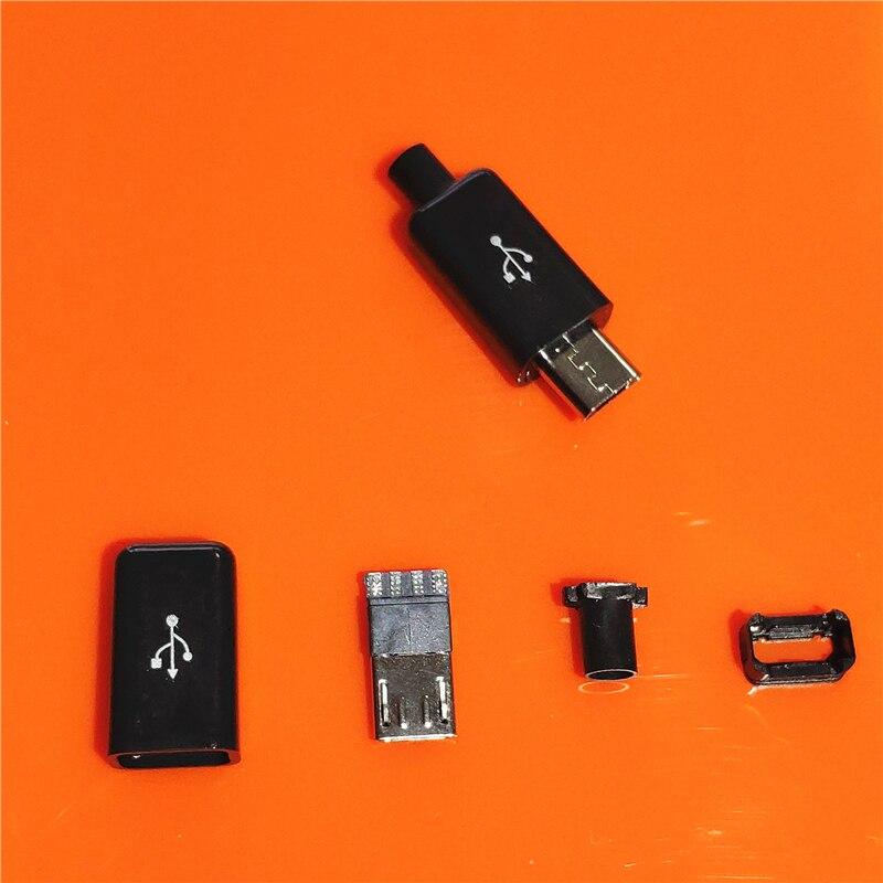 10pcs/bag YT2153Y Micro USB 4pin Male Connector Plug White/black Welding Data OTG Line Interface DIY Data Cbale(China)