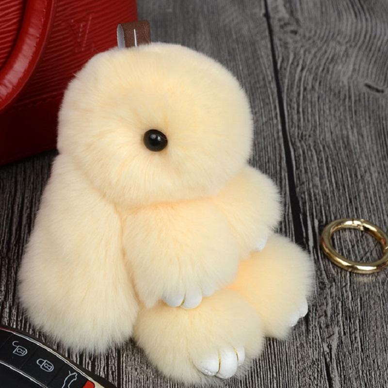 Rabbit Keychain Cute Fluffy Bunny Keychain Rex Genuine Rabbit Fur Pompom Key Ring Pom Pom Toy Doll Bag Charm Car Key Holder 14