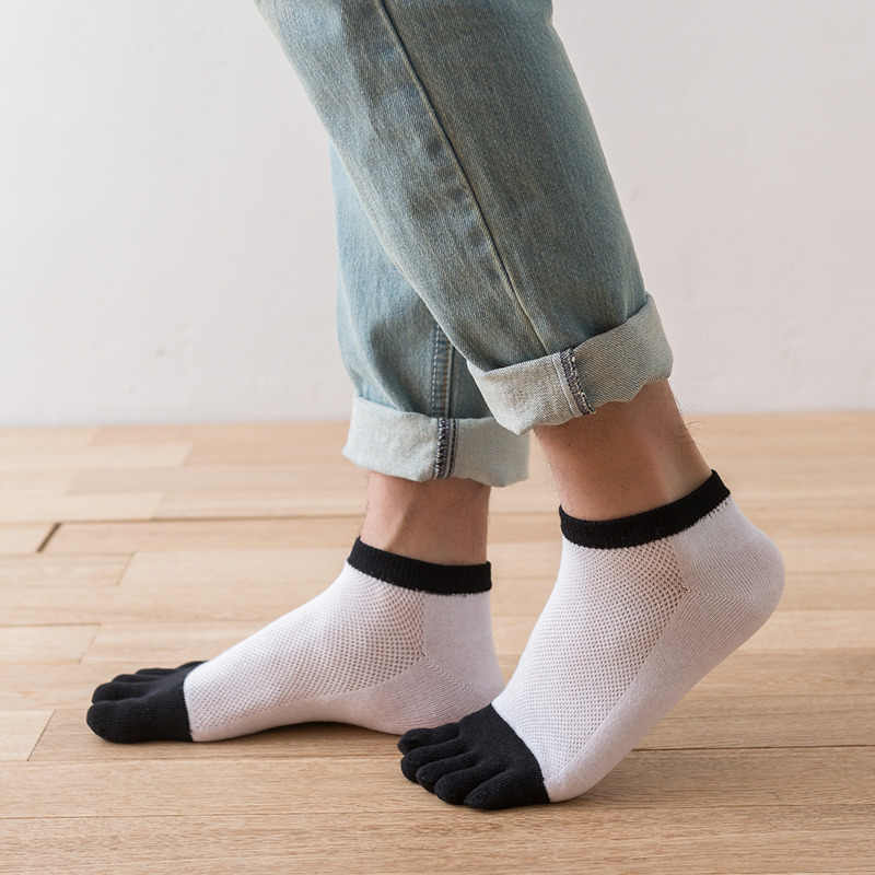 Мужские хлопковые носки с пятью раздельными пальцами с глубоким вырезом; сезон весна-лето ультратонкая Сетка модели с коротким голенищем; No Show однотонные дышащие пальцы большой палец на ноге носки