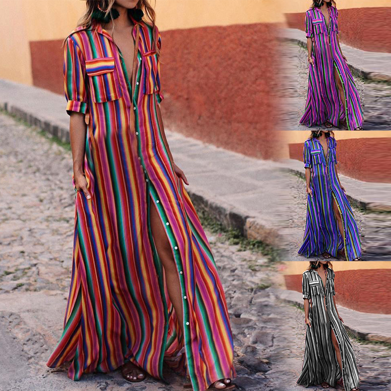 Maxi-Dress Tunic Robe-De-Plage Sexy Summer Beach Colorful Long Women Hot High-Split Print