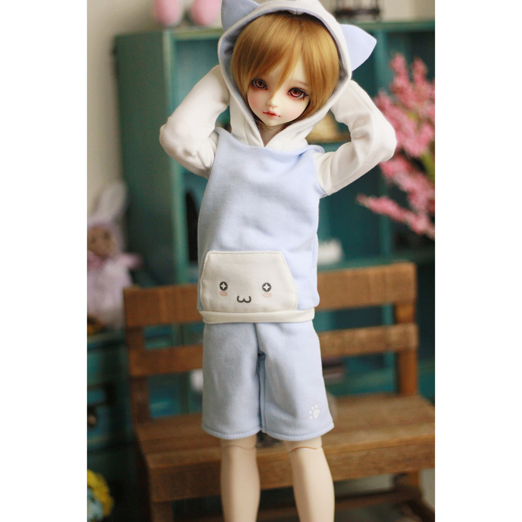 MagiDeal Cute Cotton Cat Ear Hoodie Top Pants Stockings Outfit for 1/4 BJD SD MSD Dolls Accessories 2Colors